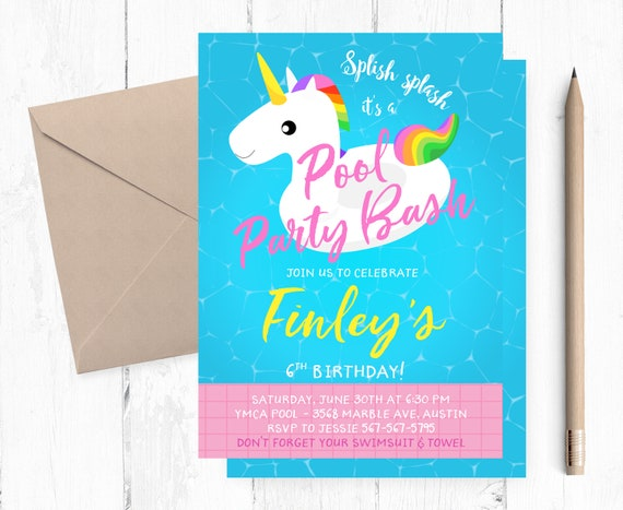 Inflatable Unicorn Pool Party Invitation Pool Birthday Party Etsy