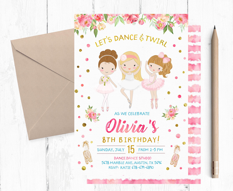 Ballerina Birthday Invitation Ballerina Invitation Ballerina Etsy