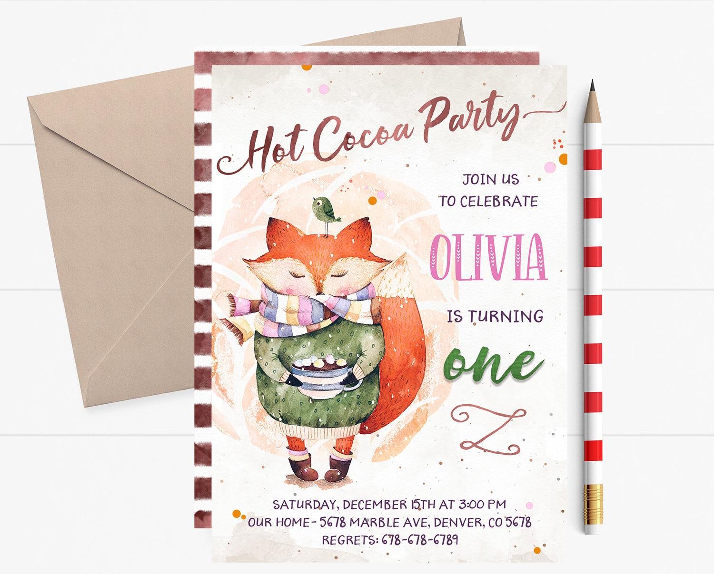 Hot Cocoa Birthday Invitation Hot Cocoa Birthday Invites Hot Etsy