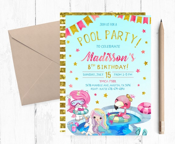 image regarding Printable Pool Party Invitations identify Printable Pool Bash Invites, Mermaid Unicorn Flamingo Pool Invitation, Pool Celebration Invitation Electronic, Pool Celebration Birthday Get together Invite,