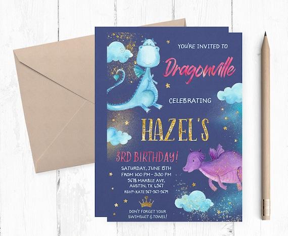 Dragons Invitations Dragon Invitation Magic Invitations Etsy
