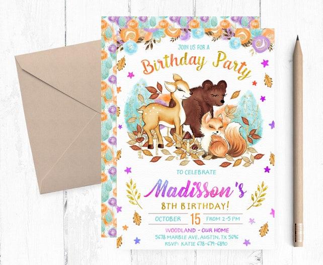 Fall Woodland Birthday Invitation, Fall Woodland Animals Invitations, Woodland Birthday Party Invites, Woodland Invitation Girl, Invites,