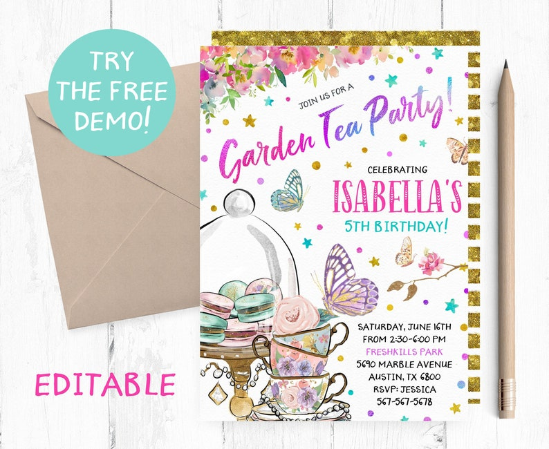 Editable Garden Tea Party Invitation Butterfly Tea Invitation Template Tea Party Editable Invitations Tea Birthday Party Instant Download