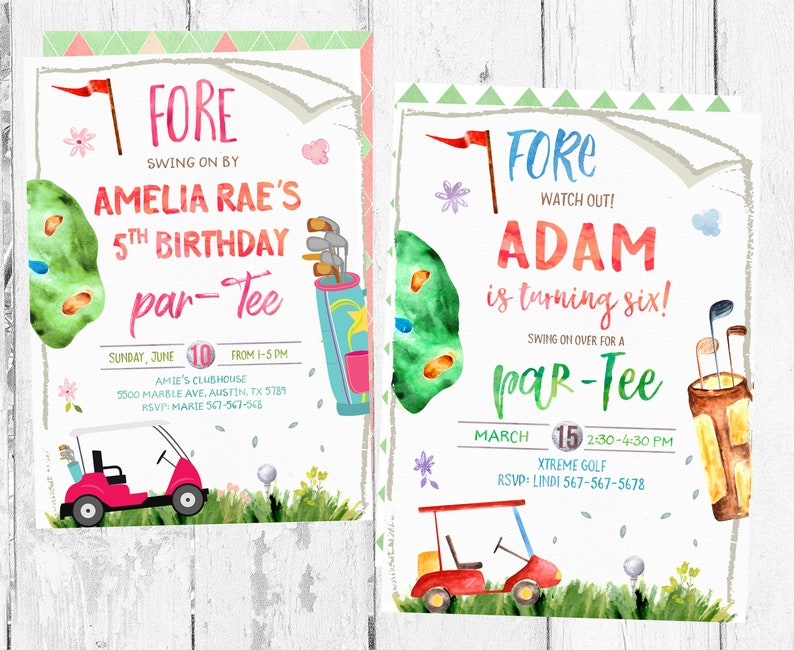Golf Invitation Mini Invitations Birthday