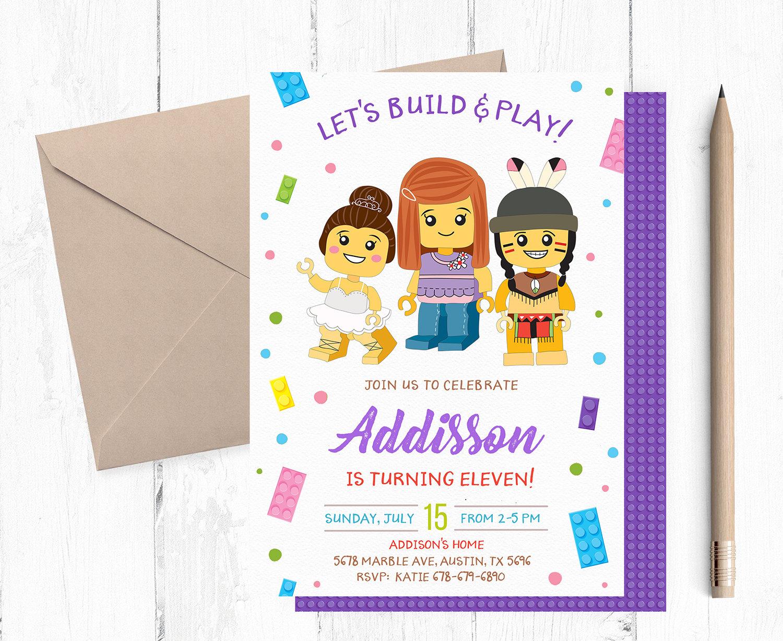 building block party invitations building block invitation