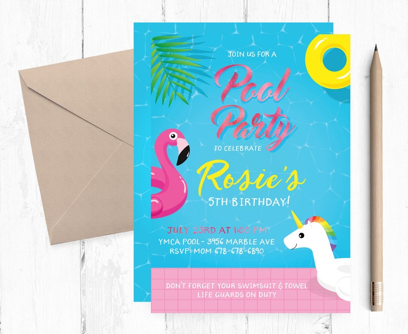 Rose Gold Pool Party Birthday Invitations
