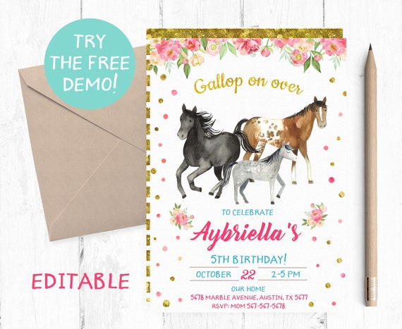 Editable Horse Birthday Invitation Edit Yourself Horse Party Etsy