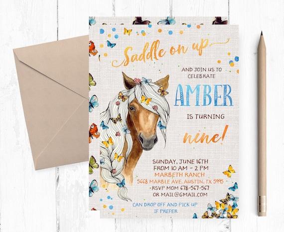 Horse Birthday Invitations Party