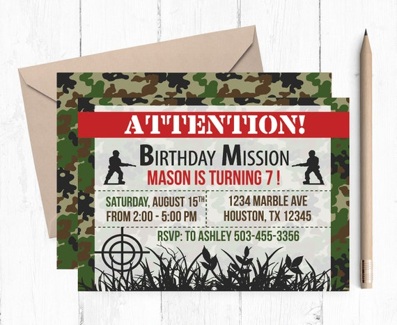 Army Birthday Invitation Party Invitations Camouflage Camo Invites Theme