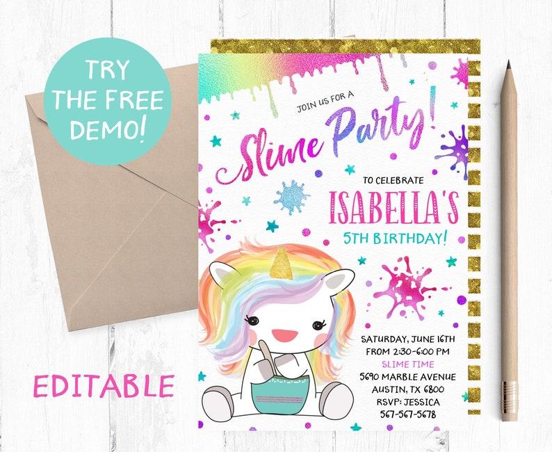 Editable Slime Invitation Slime Editable Template Unicorn Etsy