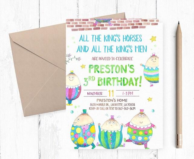 Humpty Dumpty Invitation Invitations Birthday Party Nursery Rhyme Invites