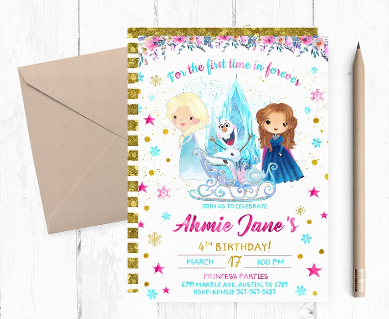 picture regarding Frozen Invitations Printable titled Frozen Birthday Invitation Printable, Frozen Anna Invites, Frozen Elza and Anna Invitation, Joint Frozen Occasion Invite, Frozen Obtain,