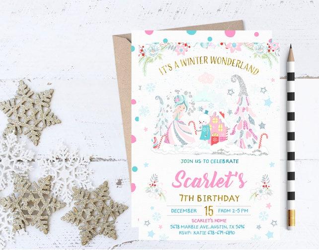 Winter Wonderland Invitation, Ice Princess Invitation, Ice Princess Invitations, Winter Wonderland Birthday Invitations, Winter Party Invite