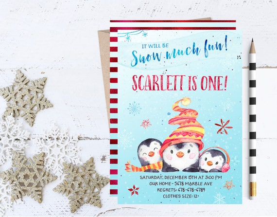 snow much fun invitation penguin invitations winter birthday etsy