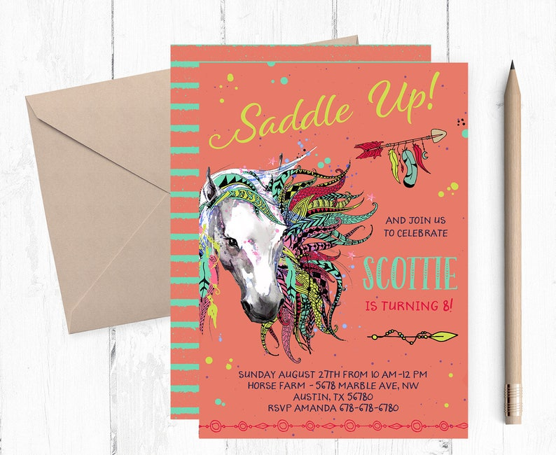 Horse Birthday Party Invitations Horses Themed