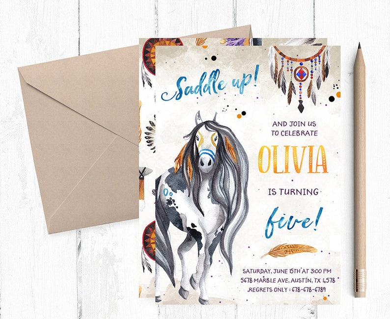 Horse Birthday Invitation Party