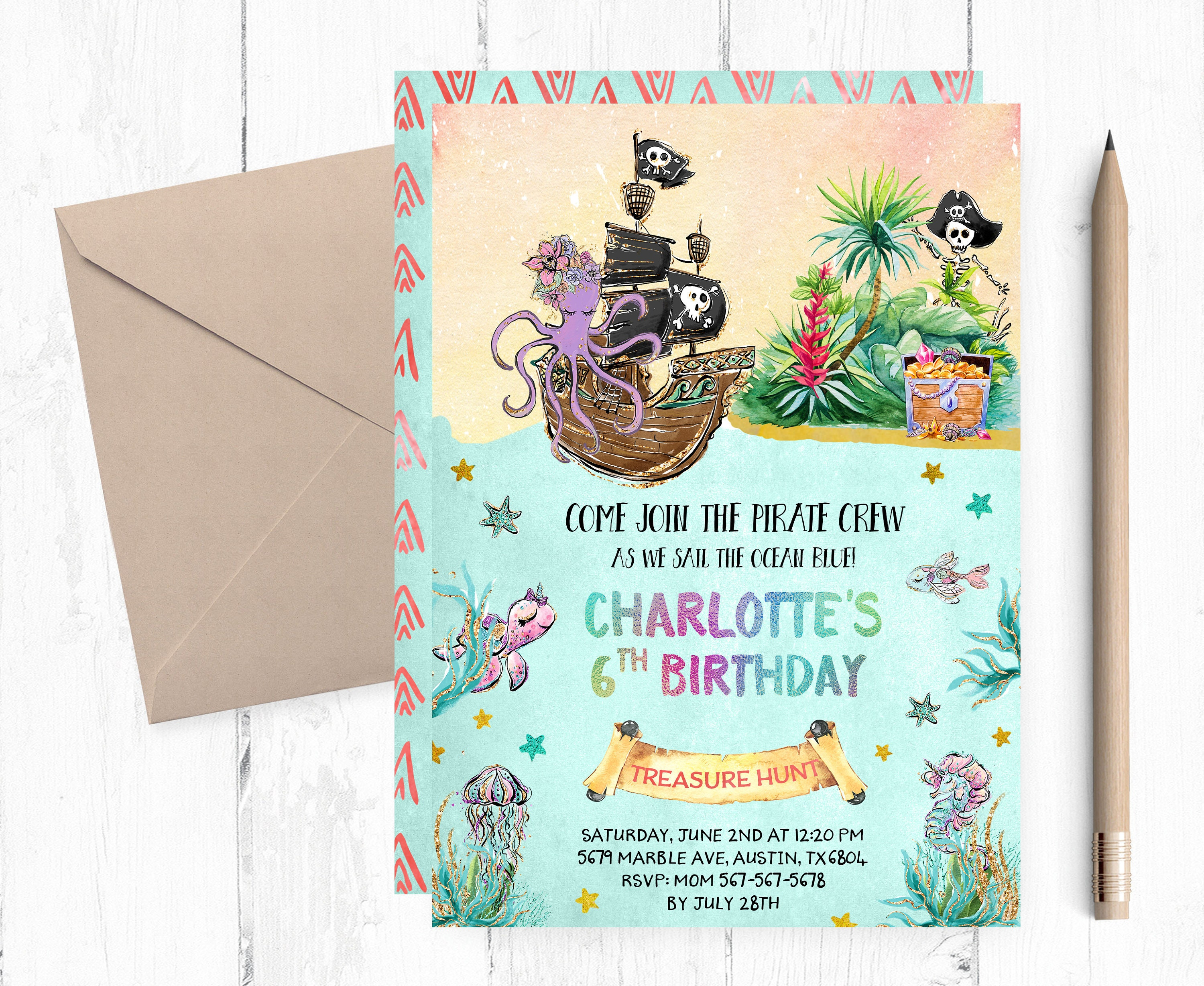 Treasure Hunt Invitation Pirate Birthday Party Invitation Etsy