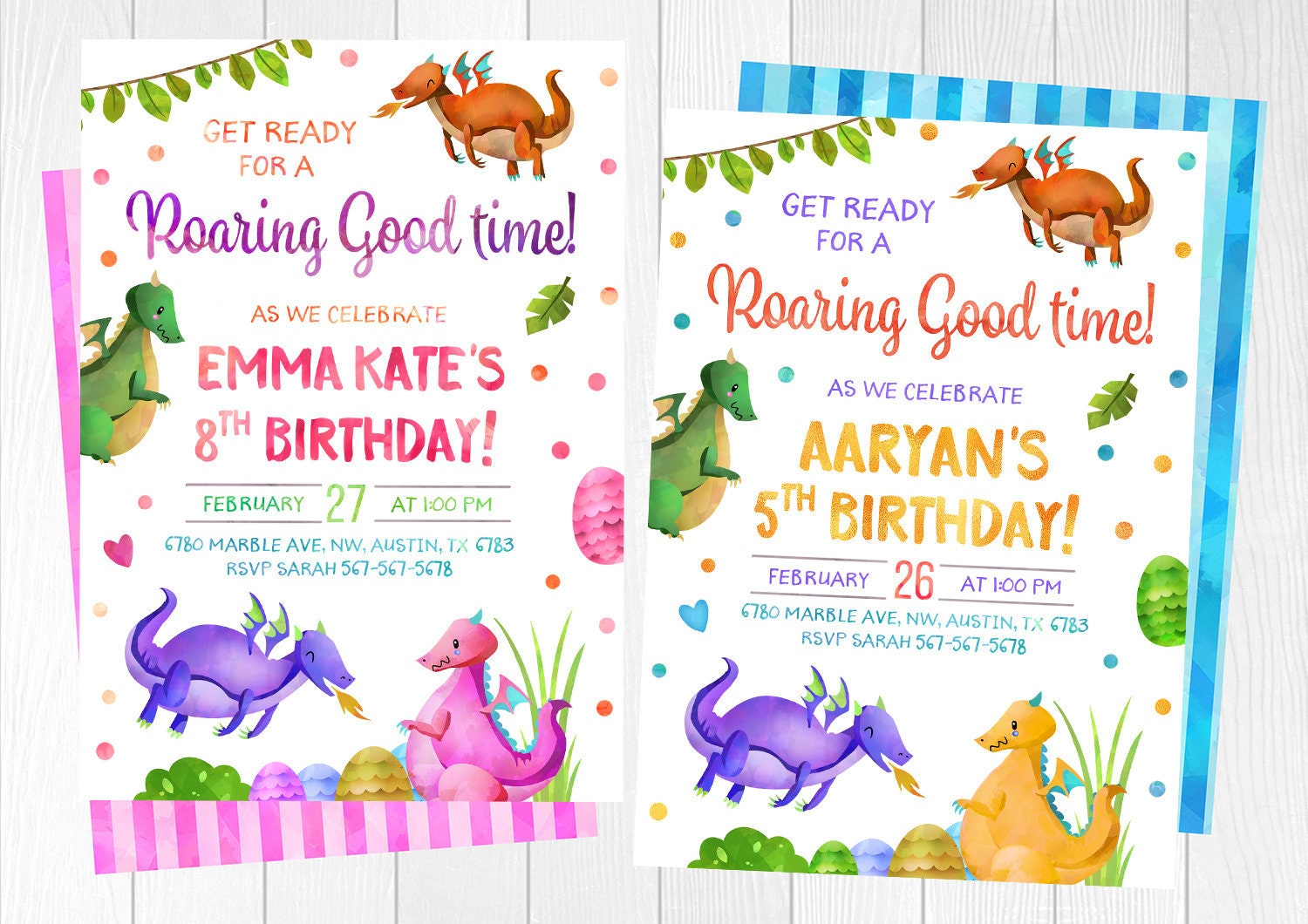 Dragon Invitation Dragon Birthday invitations Dragon | Etsy