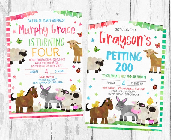 Petting Zoo Birthday Invitation Invitations Party Invites Themed Farm Invite