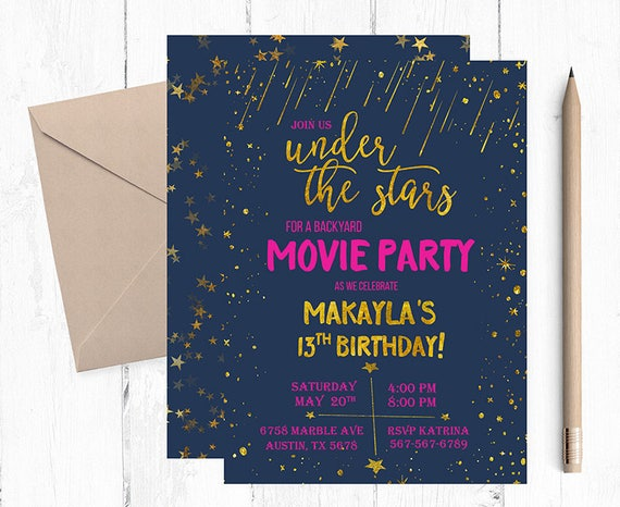 under the stars invitation under the stars movie night under etsy