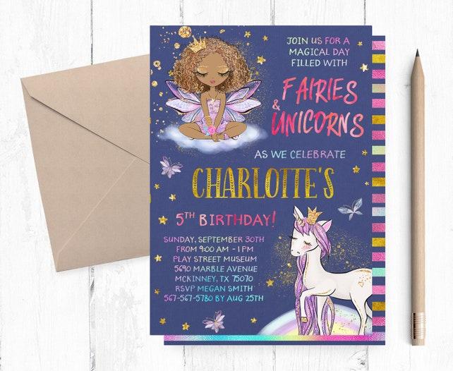 Brown Fairy Birthday Invitations And Unicorn Invitation Party