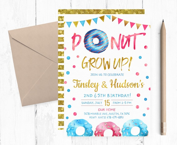 Joint Donuts Invitations Joint Donuts Birthday Party Etsy