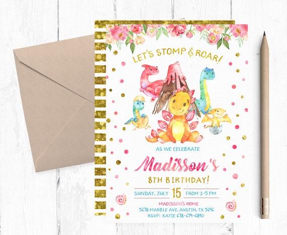 Dinosaur Birthday Invitation Girl Invitations Party Invites Invite
