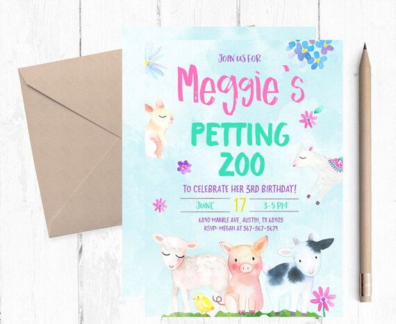Petting Zoo Invitations Farm Birthday Invitation Farm Etsy