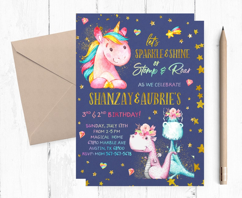 Unicorns And Dinosaurs Birthday Invitation Unicorn