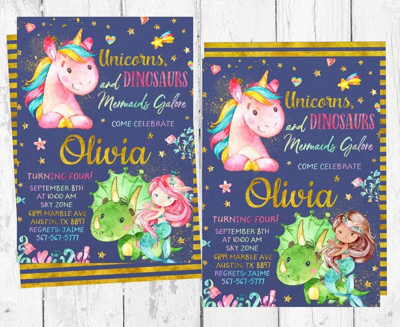 Unicorn Mermaid And Dinosaur Invitation Unicorns Mermaids Etsy