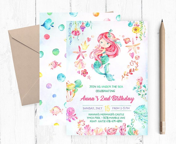 Mermaid Birthday Invitation Invitations Pool Party