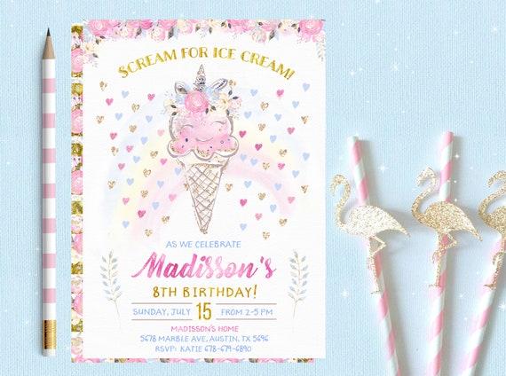 Ice cream birthday party invitations unicorn ice cream etsy image 0 filmwisefo