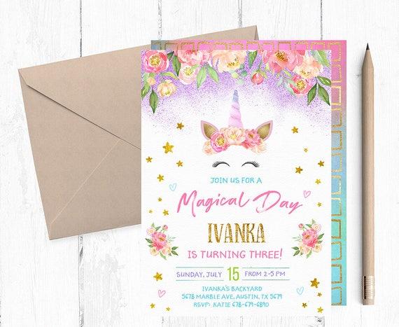 unicorn party invitations unicorn birthday invitation etsy