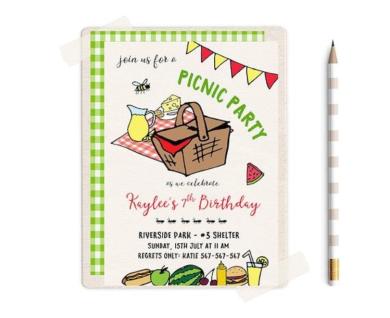 Picnic invitations picnic birthday invitation picnic etsy filmwisefo