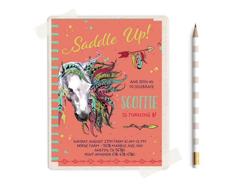 Horse Birthday Party Invitations Horses Themed