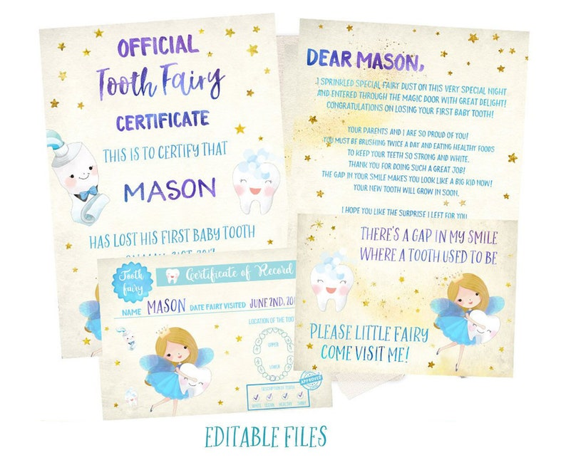 graphic relating to Printable Tooth Fairy Certificate named EDITABLE Teeth Fairy Letter Boy, Teeth Fairy Certification Boy, Teeth Fairy Heritage Boy, Teeth Fairy Receipt Boy, Enamel Fairy Printable, Teeth,