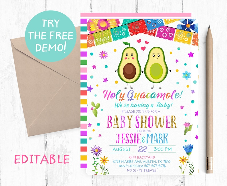 Editable Fiesta Baby Shower Invites Avocado Baby Shower Invitation Mexican Baby Shower Template Fiesta Baby Shower Party Fiesta Avocado