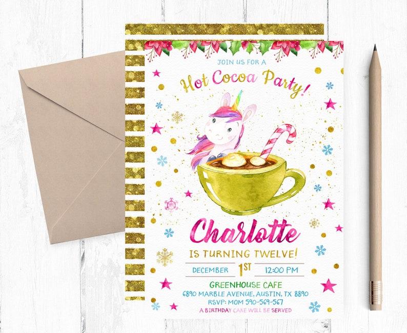 Hot Cocoa And Unicorn Birthday Invitation Unicorn And Hot Etsy