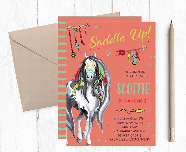 Horses Birthday Invitation Horse Invites Invite