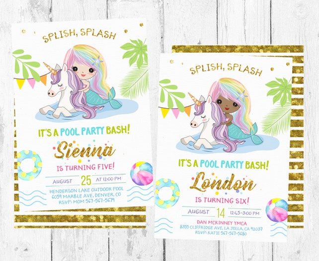 Mermaid And Unicorn Birthday Pool Party Invitation Pool Party