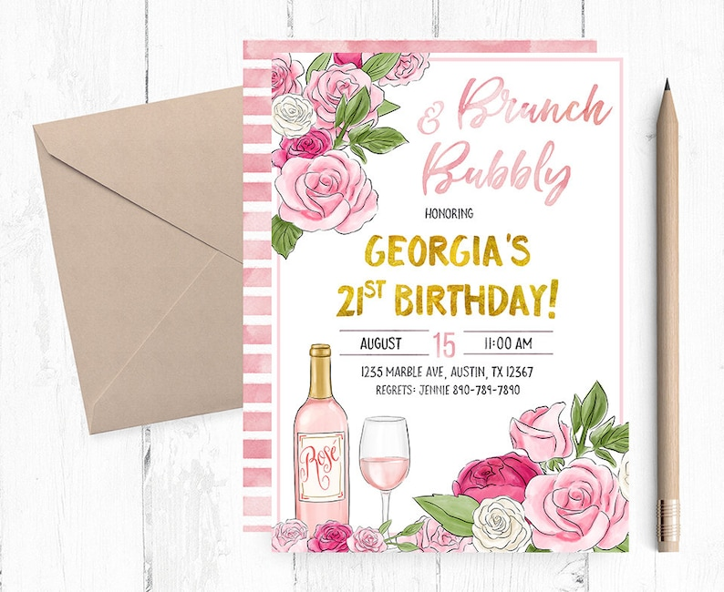 Brunch And Bubbly Invitation Brunch And Bubbly Invitations Brunch Invitations Brunch And Bubble Bridal Shower Invitation Brunch Invites