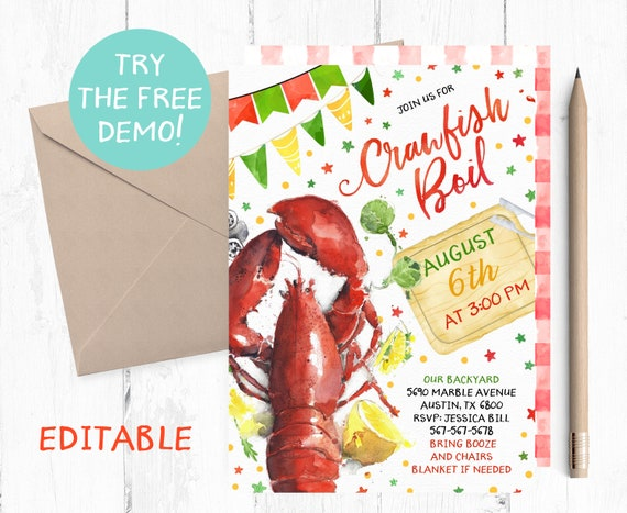 It is a graphic of Crawfish Boil Invitations Free Printable for couple shower