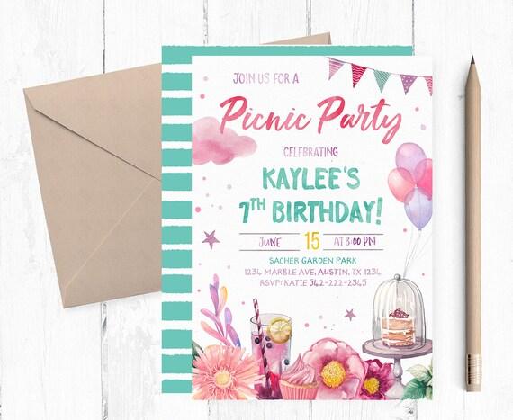 picnic birthday invitation picnic birthday party invitation etsy