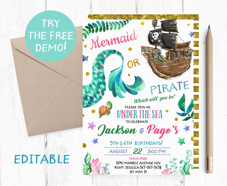 Editable Mermaid Or Pirate Invitation Joint Birthday Party Template Instant
