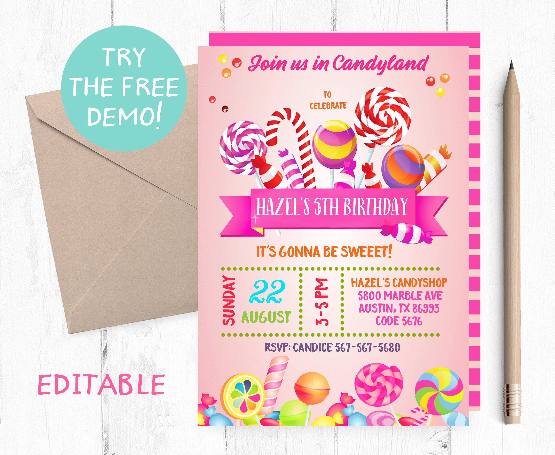 Candyland Invitation Sweet Shop Invitation Candy Etsy