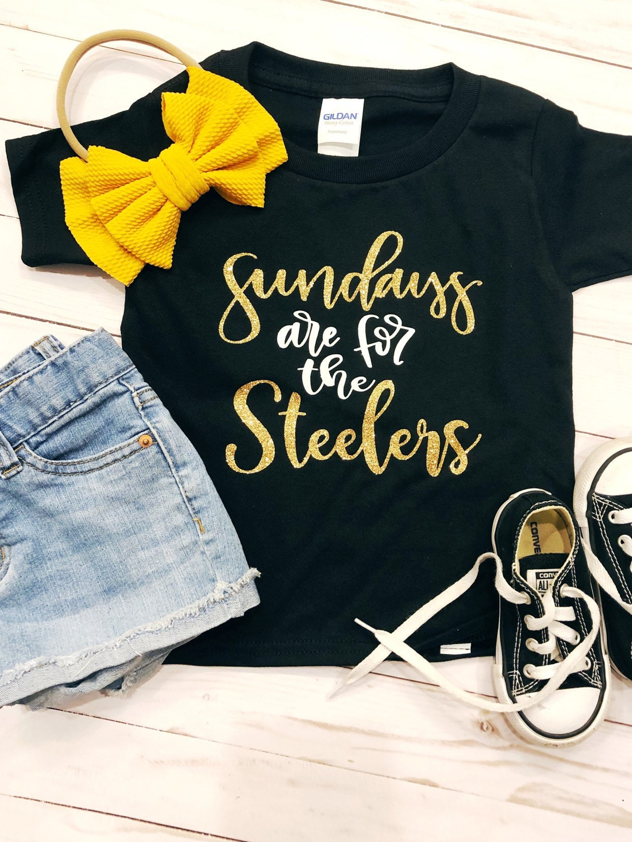 Sundays Are For The Steelers - Girls Steelers Shirt - Toddler Steelers Shirt - Sunday Football - Steelers Glitter - Cute Steelers Shirt Unisex Tshirt