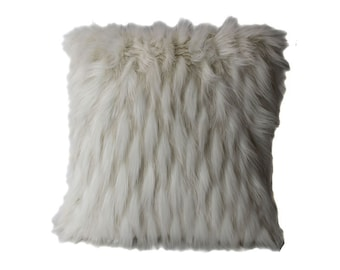 White Feathered Faux Fur Throw Pillow with Filler (FF-OHARA)