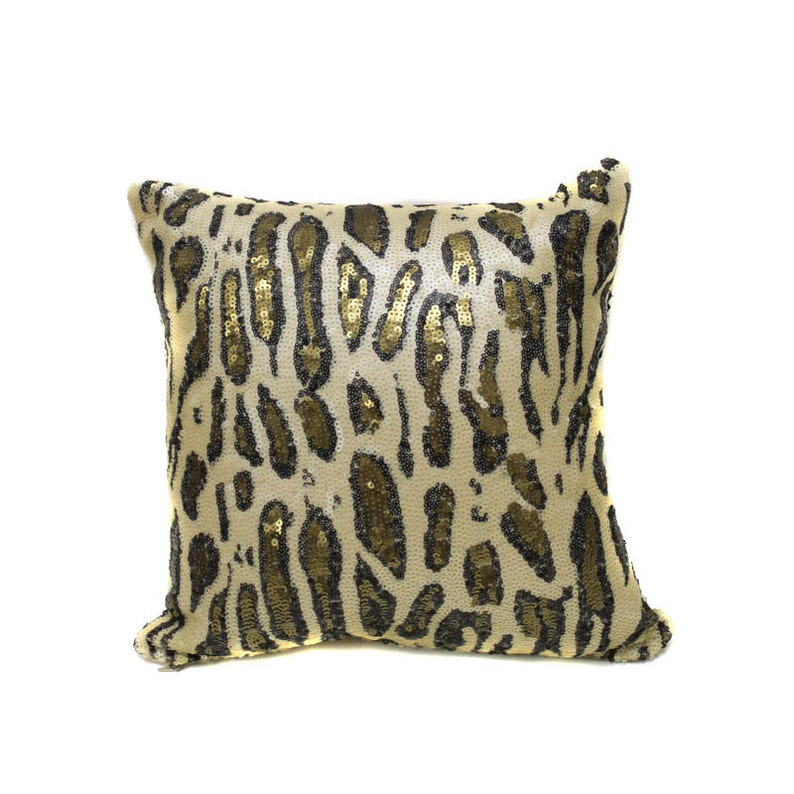WITHOUT- FILLERS Cheetah Cream Gold Sequin Pillow with Filler