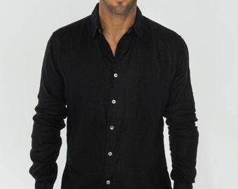 Black Linen Shirt - Regular Fit by Claudio Milano- Style 1006 u9uV6Fknb