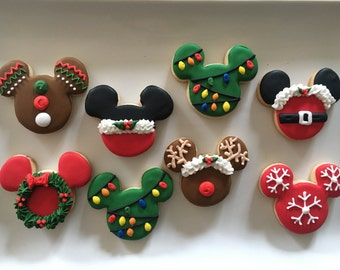 adorable mickey mouse christmas sugar cookies order is for one dozen 12 cookies - Mickey Mouse Christmas Cookies